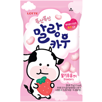 Lotte Chewing Soft Candy Malrang Cow Strawberry 79g