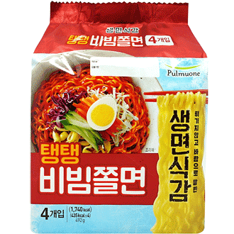 Pulmuone Teng Teng Bibim Jjolmyeon Spicy Cold Chewy Noodles Non-fried 4x123g