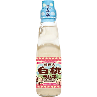 Saito Ramune Soda, White peach, 200 ml