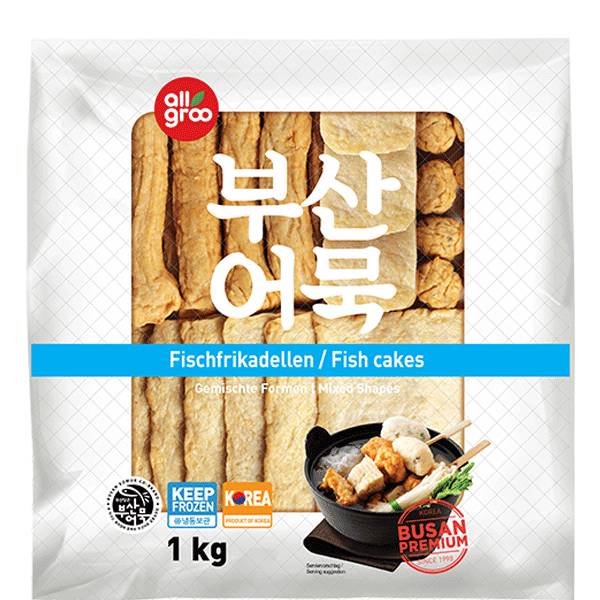 Allgroo Fish cake, pre-fried, mixed shapes, Oden, 1kg