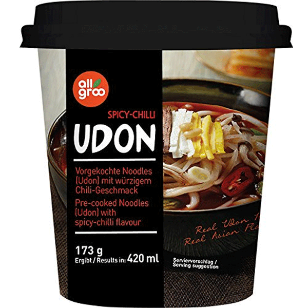Allgroo Udon cup, spicy chilli 173g