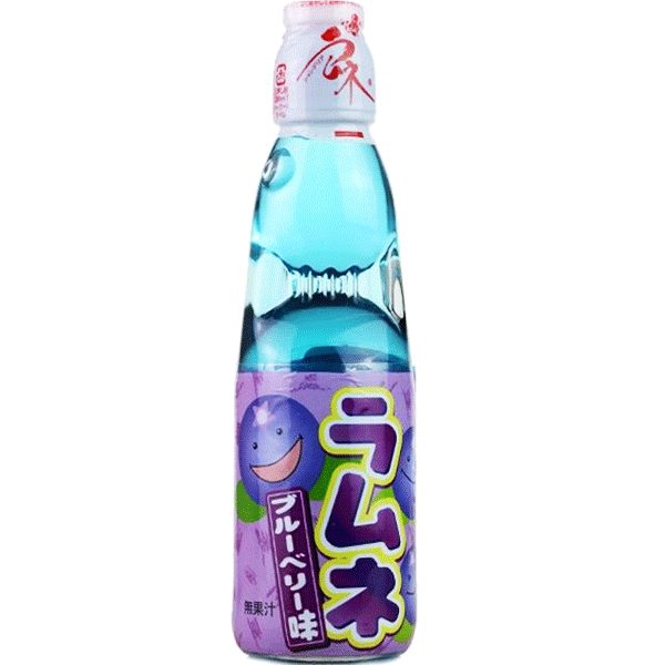Hata Ramune Soda, Blueberry, 200 ml