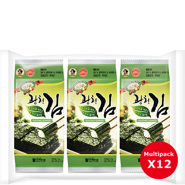 Kwangcheon Seaweed with Olivoil and green tea 5g 12pcs