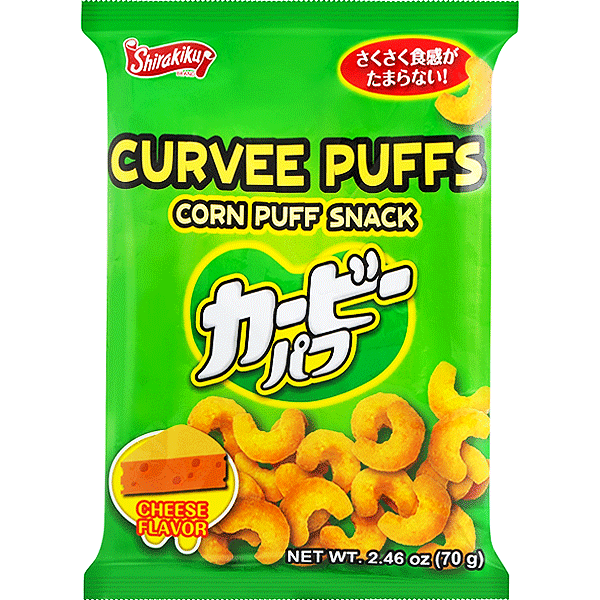 Shirakiku Curvee Puffs Cheese Corn puff snack 70g